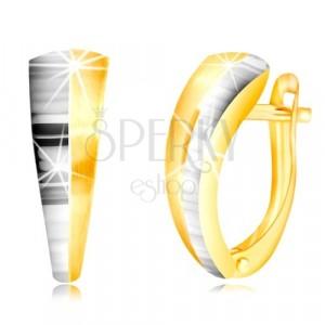 585 kombinált arany fülbevaló - szabálytalan ív, fehér arany féloldallal