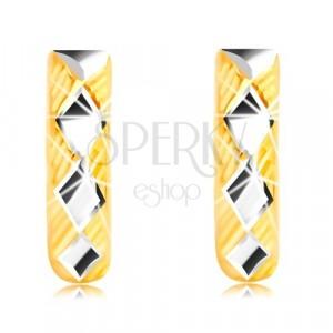 14K arany fülbevaló - fényes rombuszok, háromszögek
