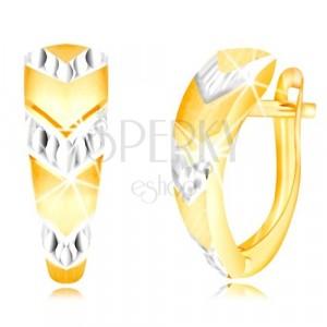585 arany fülbevaló - szabálytalan ív, nyilak fehér aranyból, orosz zár