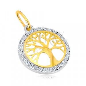 14K kombinált arany medál - karika életfa motívummal, csillogó cirkóniák
