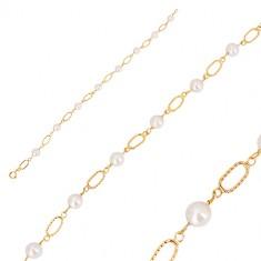 585 sárga arany karkötő - fehér gömbölyű gyöngy, ovális láncszemek vésetekkel