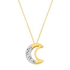 14K arany nyaklánc - két oldalas ornamentumos félhold