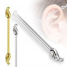 316L acél fül piercing - angyal szárnyakkal, 1,2mm