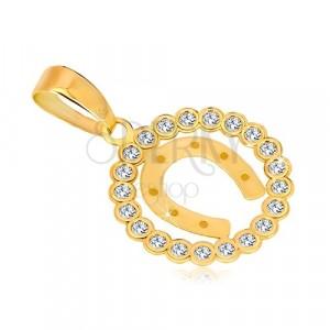 14K sárga arany medál - cirkónia kör szerencsét hozó patkó medállal