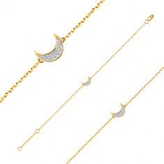 14K arany karkötő - fényes lánc, félhold medál cirkóniákkal kirakva