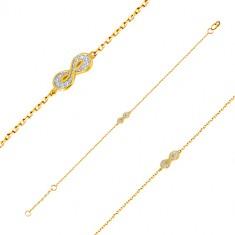 585 arany karkötő - végtelen szimbólummal és apró kerek cirkóniákkal