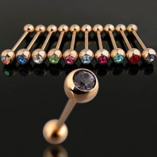 Aranyozott piercing színes cirkónia kővel