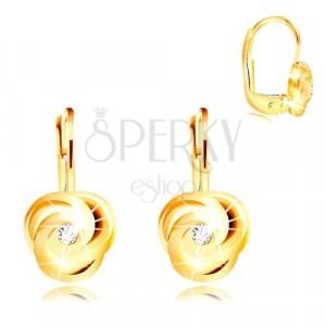 14K sárga arany fülbevaló - három spirál levél, kerek cikróniával