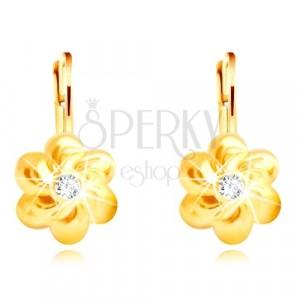 585 arany fülbevaló - virág hat lekerekített szirommal, átlátszó cirkónia középen