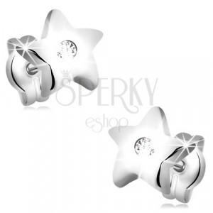 14K stekkeres fehér arany fülbevaló - ötágú csillag cirkóniával
