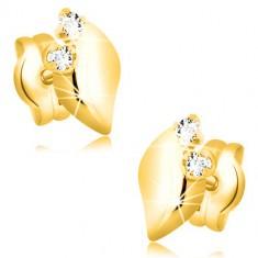 14K sárga arany fülbevaló - csillogó levél két átlátszó cirkóniával