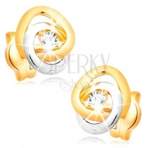 585 arany fülbevaló - kétszínű összekapcsolódott ív, átlátszó cirkóniával