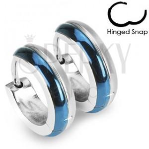Sebészeti acél fülbevaló - ezüst és kék sáv