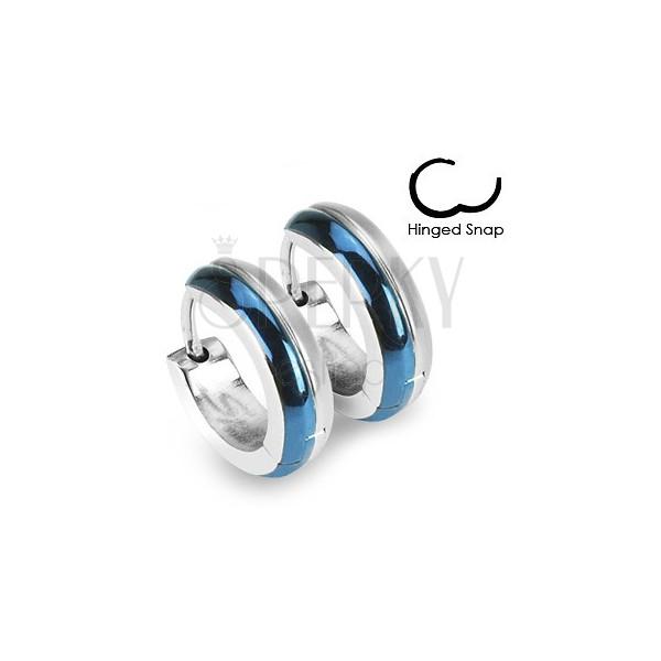 Kerek acél fülbevaló - kék és ezüst szín kombinációja