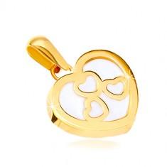585 sárga arany medál - fényes szív körvonal, három szívecske