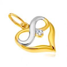 14K kombinált arany medál - szív körvonal, végtelen szimbólum, cirkónia