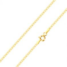 14K sárga arany nyaklánc - kis lapos szemek ovális alakban, 550 mm