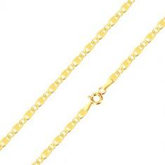 585 sárga arany karkötő - ovális, hosszúkás szemek, vésetek és négyzetek, 190 mm