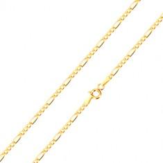585 arany nyaklánc - Figaro minta, három ovális és egy hosszúkás láncszem, 500 mm