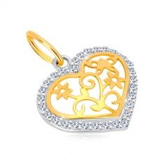 14K arany medál - szív alakzat cirkóniákkal, középen díszített vágat