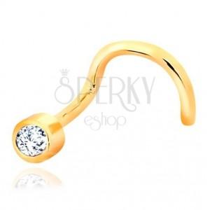 585 sárga arany orr piercing - átlátszó, csillogó cirkóniával