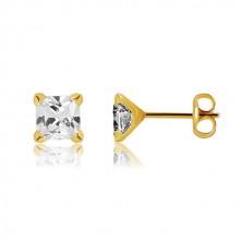 9K arany fülbevaló - csillogó négyzet alakú átlátszó cirkónia, 6mm