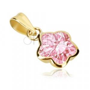 9K arany medál - virág öt lekerekített szirommal, rózsaszín cirkónia