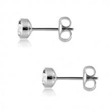 9K fehér arany fülbevaló - kerek csillogó cirkónia, 4mm