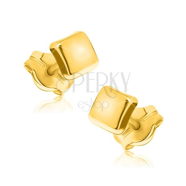 375 arany fülbevaló - egyszerű négyzet alakzat tükörfényes felülettel