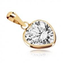 375 sárga arany medál - szív alakzat, cirkónia szívvel