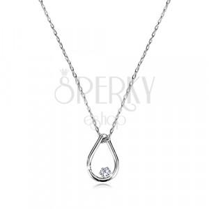 Briliáns 9K fehér arany nyaklánc - könnycsepp alakú medál gyémánttal, vékony lánc