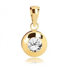 9k sárga arany medál - kör alakú medál, kerek csiszolt cirkónia