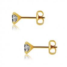 375 sárga arany fülbevaló - kerek csiszolt átlátszó cirkóniával, 5mm