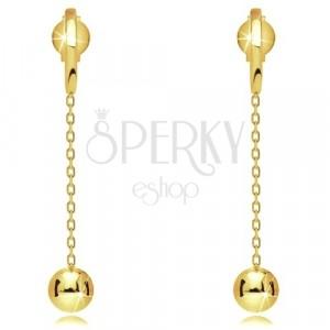 9K sárga arany fülbevaló - vékony lánc, fényes golyó