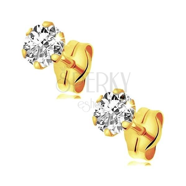375 arany fülbevaló - csillogó cirkónia foglalatban, 4 mm