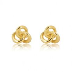 375 sárga arany fülbevaló - csomó három karikából