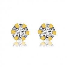 9K sárga arany fülbevaló - csiszolt cirkóniával foglalatban, 3 mm