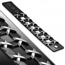 """Fekete bőrkarkötő, négyzet alakú kivágások, """"X"""""""