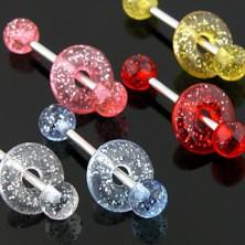 Glitteres nyelvpiercing - golyócskák és karika