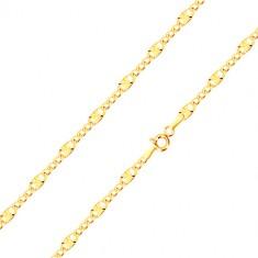 14K sárga arany nyaklánc - három ovális szem, egy sugarakkal díszítve, 450 mm