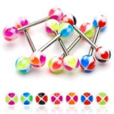 Nyelv piercing - színes szívecskék
