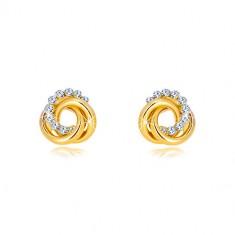 14K sárga arany fülbevaló - két karika és egy cirkónia kör, stekkeres