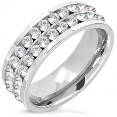 Acél karika gyűrű két csillogó cirkónia sávval, 7mm