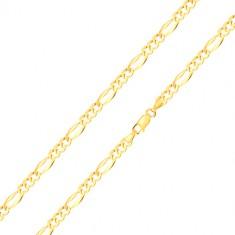 585 arany karkötő - három ovális láncszem, hosszúkás szem széles szélekkel, 180 mm