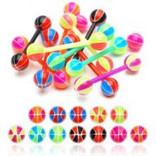 Nyelv piercing - színes kosárlabda