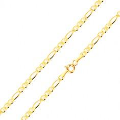 585 sárga arany karkötő - hosszúkás láncszemek, három ovális szem pálcikával, 200 mm