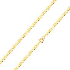 14K sárga arany karkötő - ovális láncszemek, hosszúkás szem rácsos díszítéssel, 190 mm
