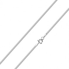 14K fehér arany nyaklánc - sűrűn egymásba kapcsolt részek, kígyóbőr minta, 500 mm