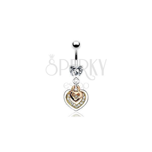 Köldökpiercing - szívek réz, arany és ezüst színben, átlátszó cirkóniák