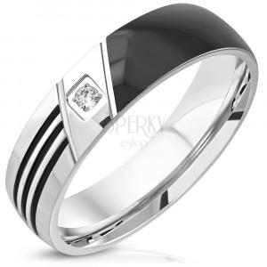 316L acél karikagyűrű - egyik fele fekete, három vágat, kerek átlátszó cirkónia, 6mm